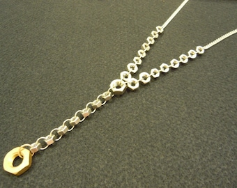 Stainless Steel Hexnut Y - Necklace