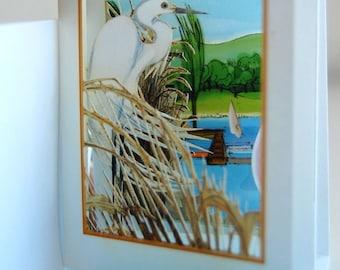 Egret Wading (POPup foldOUT)