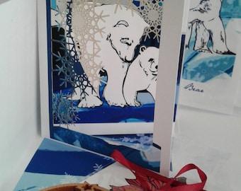 Polar Bear Christmas Tree Ornament + 3D Art Card