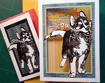 Chinese New Year of the Dog Papercut Card (husky design)