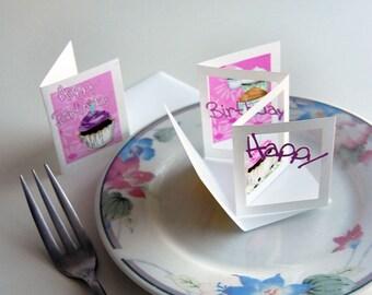 Birthday Cupcake POPupfoldOUT (flowy font) Small & Large