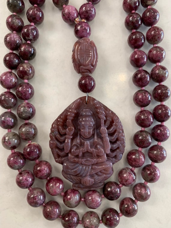 Pink Tourmaline and Indian Bloodstone Mala/Prayer Beads