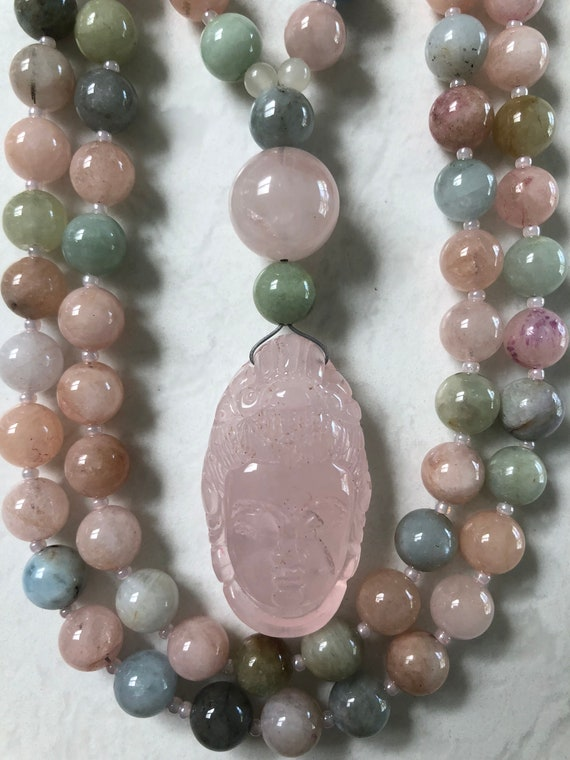 Beryl (Morganite) and Rose Quartz Mala/Prayer Beads