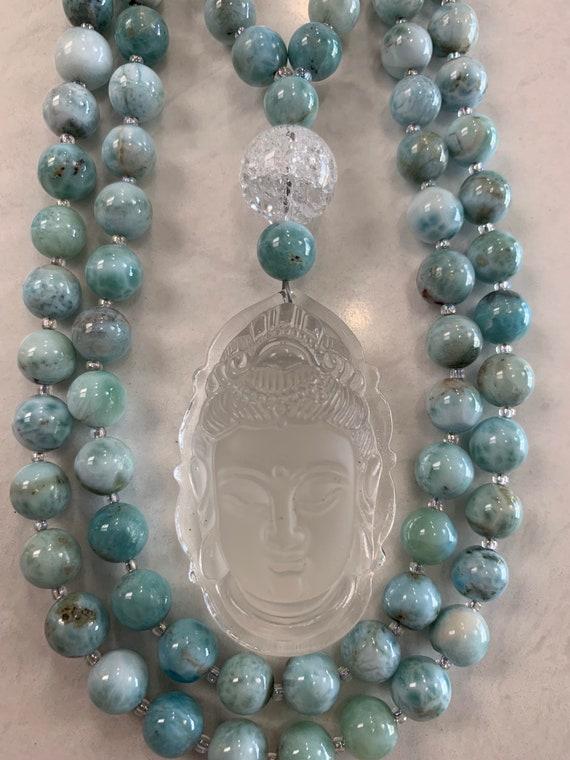Larimar and Rock Quartz Mala/Prayer Beads
