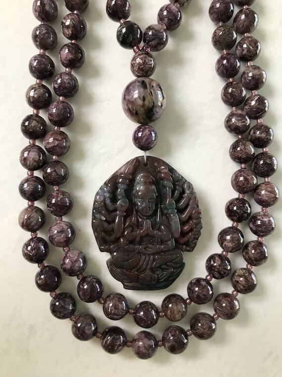 Lepidolite and Indian Bloodstone Mala/Prayer Beads
