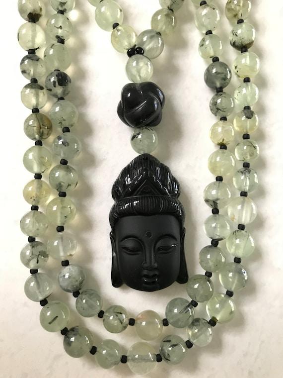 Prehnite  and Obsidian Mala/Prayer Beads