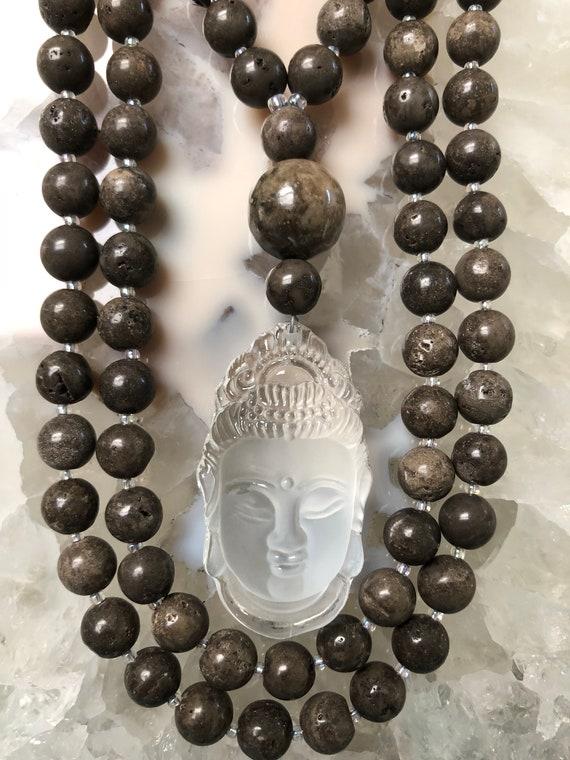Dolomite and Rock Quartz Mala/Prayer Beads