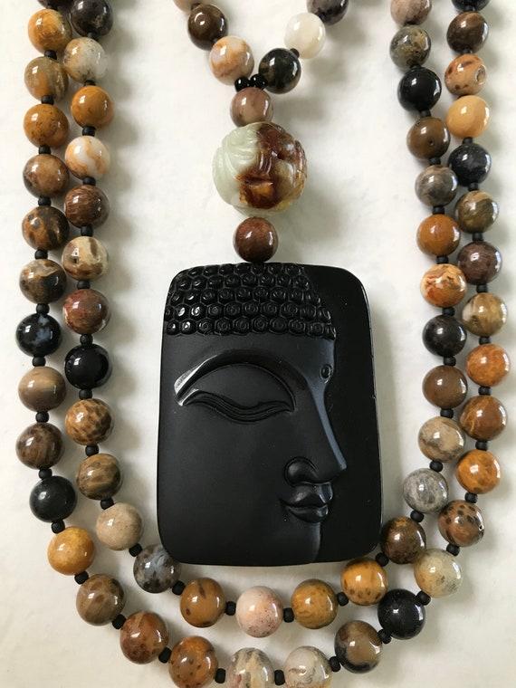 Petrified Wood and Obsidian Mala/Prayer Beads