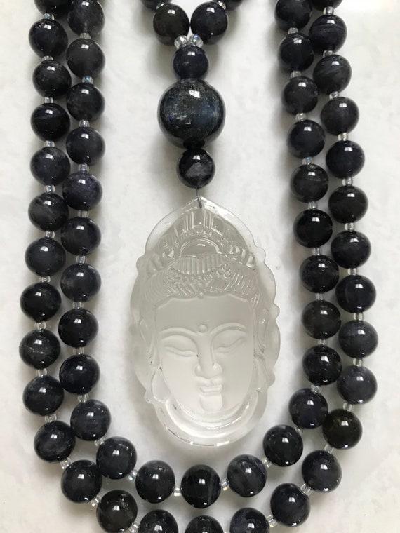 Iolite and Rock Quartz Mala/Prayer Beads