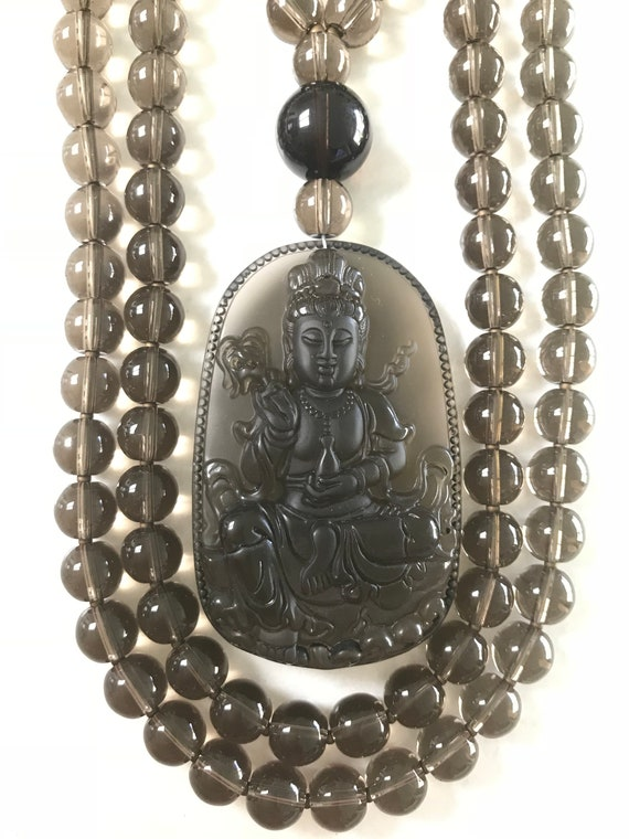 Smokey Quartz and Icy Obsidian Mala/Prayer Beads