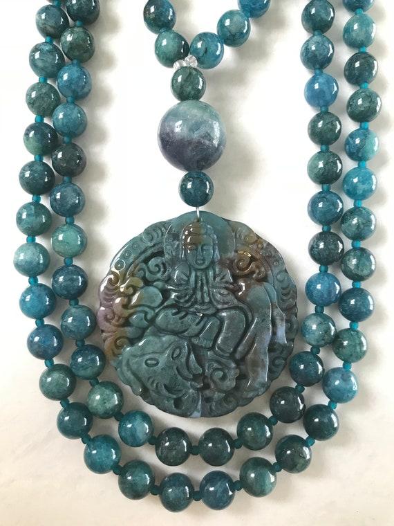 Apatite and Indian Bloodstone Mala/Prayer Beads