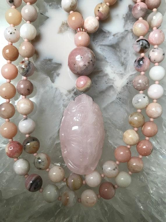 Pink Opal and Rose Quartz Mala/Prayer Beads
