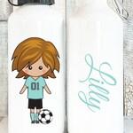 Soccer Personalized Water Bottle Girls, Personalized Soccer Gifts for Girls, Cute Waterbottles Personalized Gift for Kids, 20 oz Aluminum