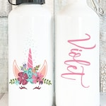 Personalized Unicorn Water Bottle with Name, Personalized Kids Water Bottle Personalized Gift, Custom Name Water Bottle, 20 oz Aluminum