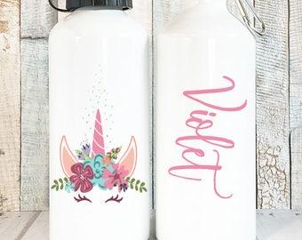 Personalized Unicorn Water Bottle with Name, Personalized Kids Water Bottle Personalized Gift, Custom Name Water Bottle, 20 oz Aluminum