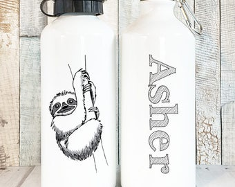14d15dd640 Sloth Water Bottle Personalized Sloth Gift, Cute Water Bottles with Names,  Personalized Water Bottle Kids Personalized Gifts, Aluminum 20 oz