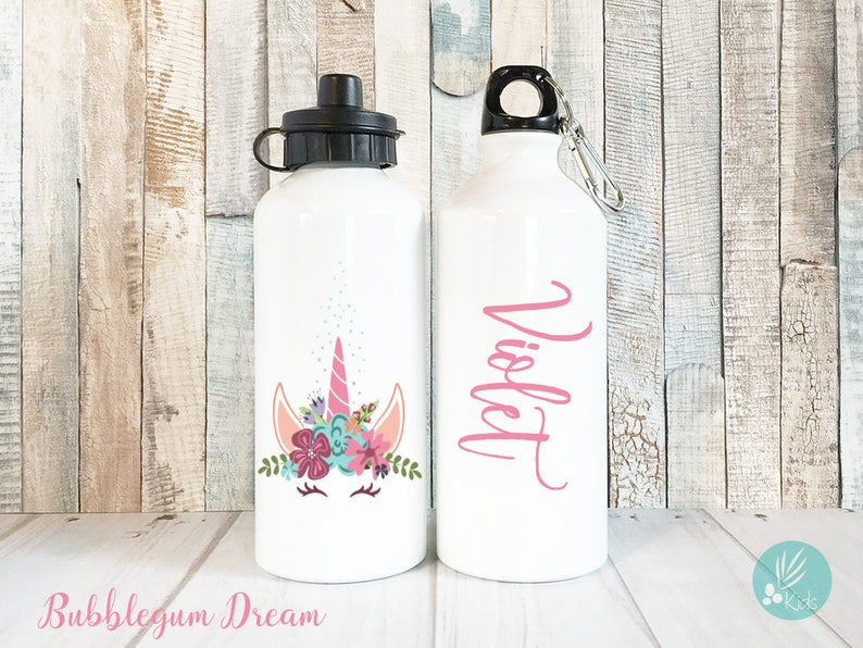 Personalized Unicorn Water Bottle with Name Personalized Kids image 0