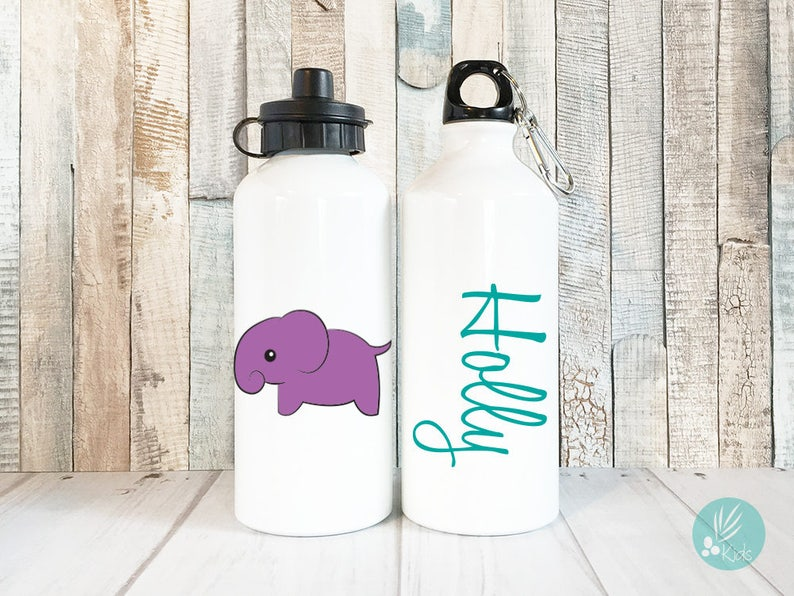 Personalized Elephant Water Bottle Kids Personalized Kids image 0