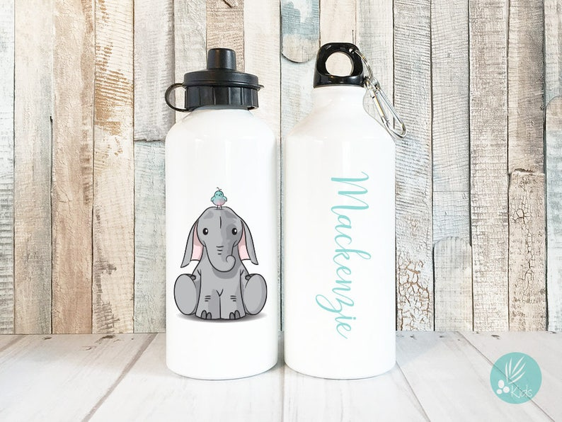 Personalized Elephant Water Bottle Personalized Kids Water image 0