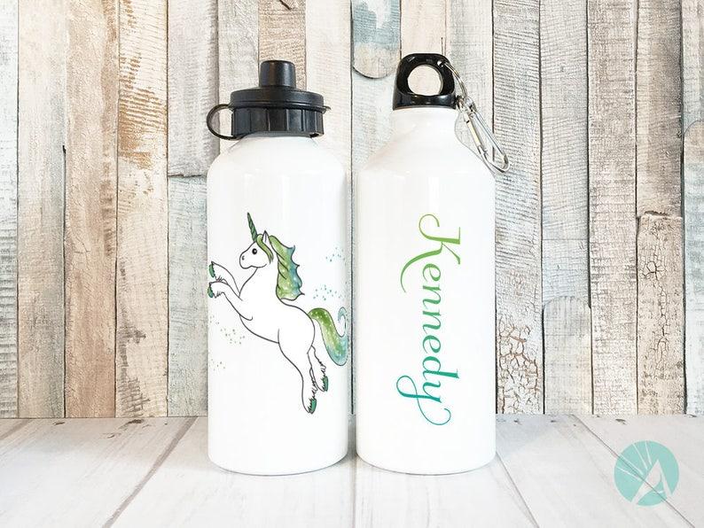 Personalized Water Bottle Unicorn Water Bottle Kids Water image 0