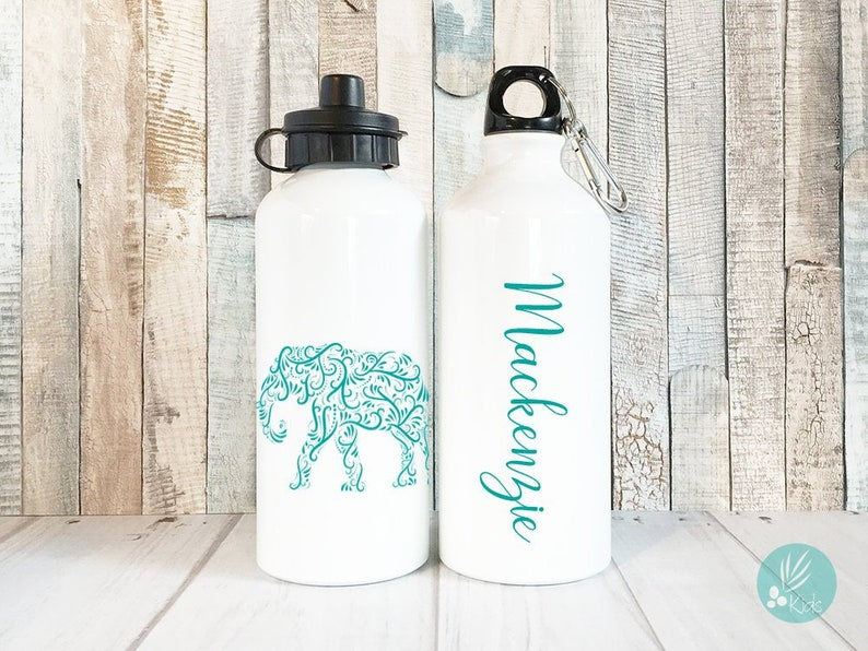 Personalized Elephant Water Bottle Personalized Gift for Kids image 0
