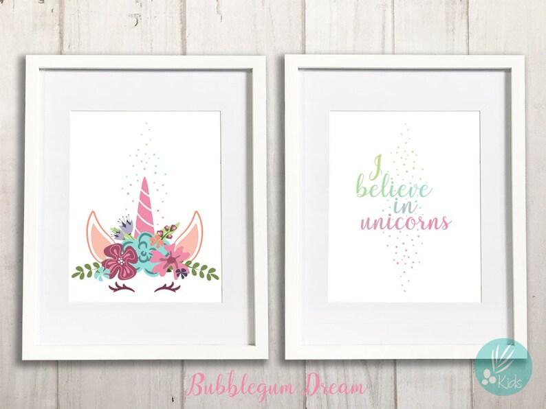 I Believe in Unicorns Print Set of 2 Large Wall Art Unicorn image 0