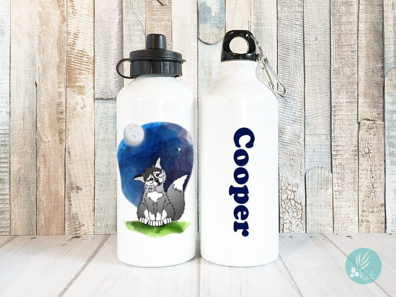 Personalized Kids Water Bottle Cute Wolf Water Bottle image 0