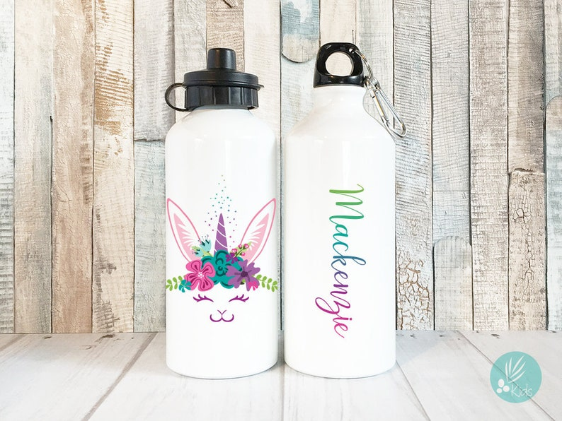 Personalized Bunny Unicorn Water Bottle with Name image 0