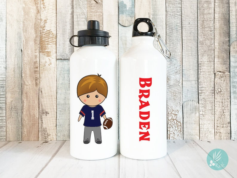 Personalized Water Bottle for Kids Football Gifts for Boys image 0