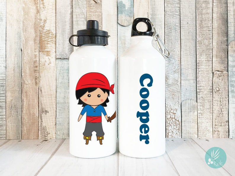 Child Water Bottle Personalized Pirate Gift for Boy Water image 0