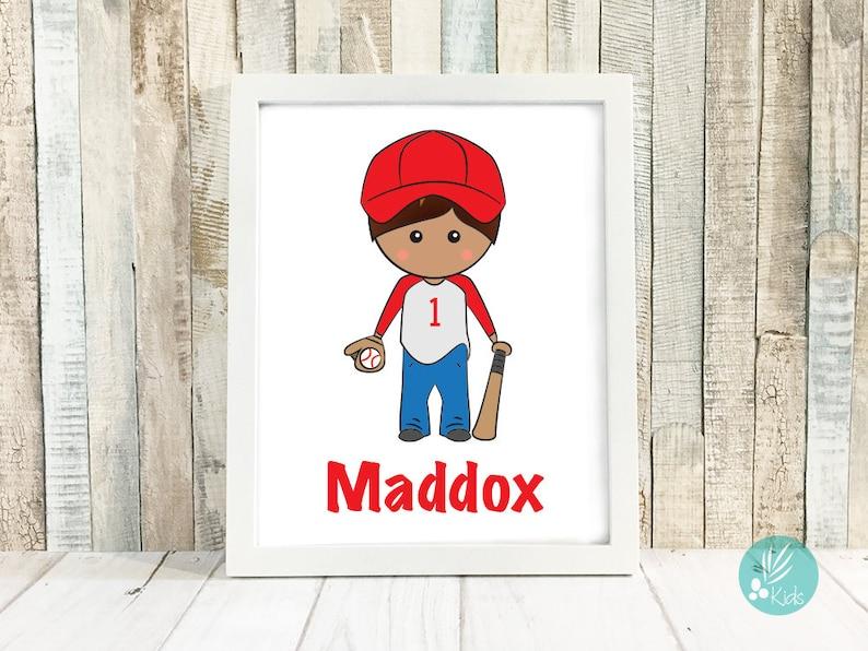 Baseball Room Decor Personalized Portrait Illustration Kids image 0