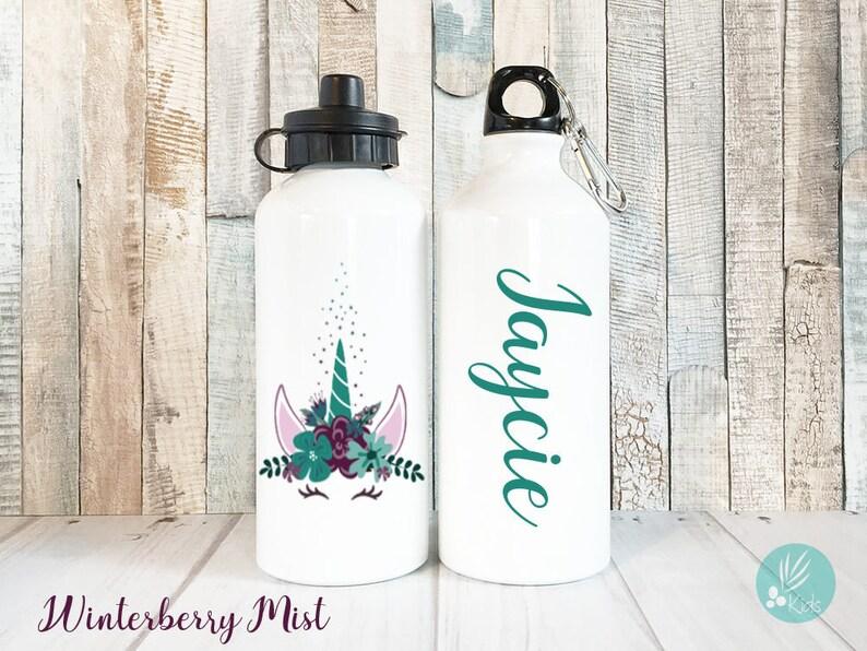 Unicorn Water Bottle with Name Personalized Unicorn Face image 0
