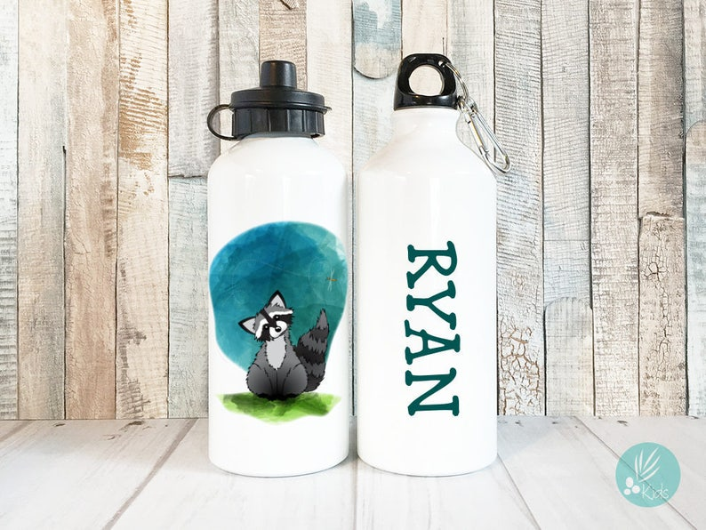 Personalized Gifts for Kids Cute Raccoon Water Bottle image 0
