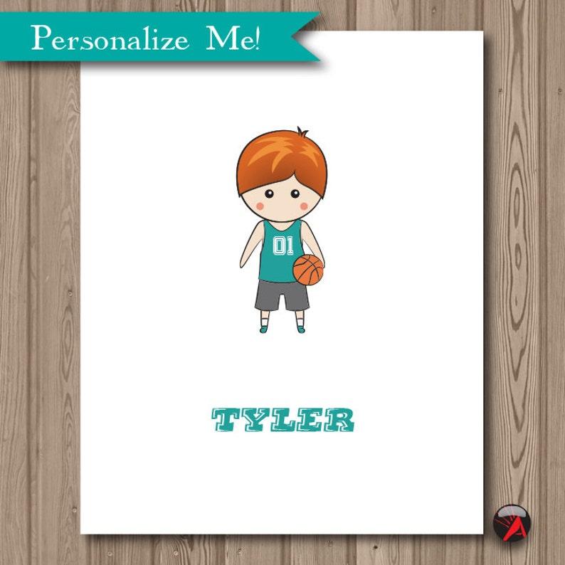 Boy Basketball Illustration Personalized Portrait Drawing image 0