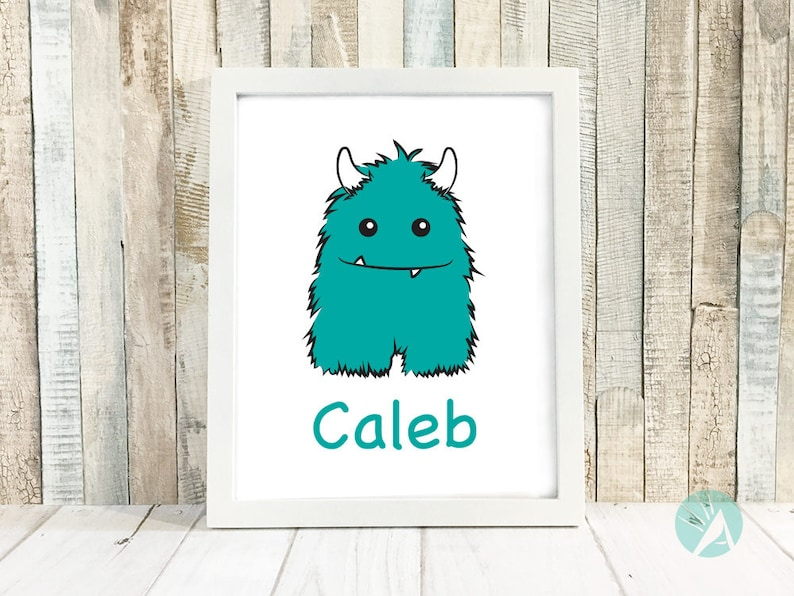 Personalized Wall Art Personalized Monster Personalized Name image 0
