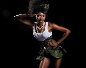 Camouflage Skirt, Women's Camo Costume, Women's Halloween Costume, Army Skirt, Military Camo Cincher Skirt