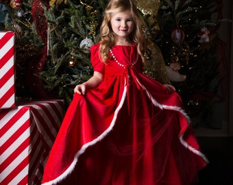 Christmas Gown, Girls Christmas Dress, Girls Gown for Photoshoots