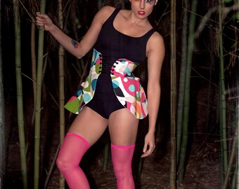Colorful Corset Skirt, Abstract Art Skirt, Halloween Costume, Abstract Art Costume, Women's Costume, Cincher Skirt, Lace Up Skirt
