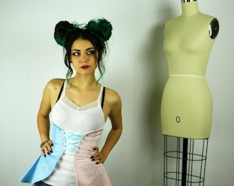Pink and Blue Cincher Skirt, Pink and Blue Skirt, Peplum, Women's Costume, Pink and Blue Costume--Clearance--
