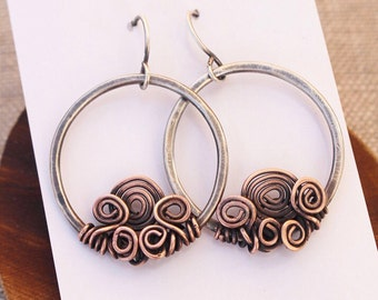 Sterling and Copper Spiral Cluster Hoops