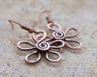 Copper Flower Earrings, Textured, Oxidized, Copper Wire, Wire Jewelry