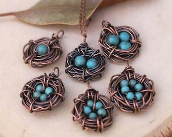 Bird Nest Necklace, Oxidized Copper, Howlite Stone,  Turquoise, Wire Jewelry