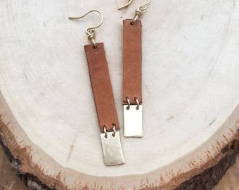 Leather and Brass Drop Earrings
