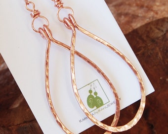 Copper Drop Earrings. Large. Hammered