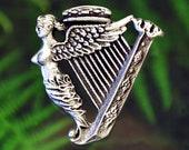 Celtic Irish Harp Pin Celtic Jewelry Irish Jewelry Music Jewelry Handcrafted Jewelry Fine Pewter by Treasure Cast