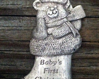 Christmas Decoration Baby's First Christmas Teddy Bear Christmas Ornament Gift by Treasure Cast Pewter