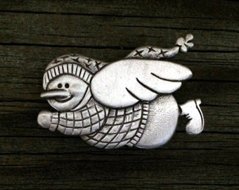 Angel Snowman Pin   Christmas Pin   Snowman Jewelry   Christmas Gift   Snowman Pin   Snowmen   by Treasure Cast Pewter