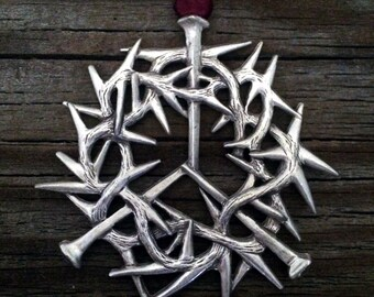 Crown of Thorns Christmas Ornament Decoration by Treasure Cast Pewter