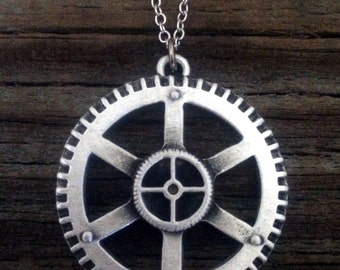 Steampunk Gear Pewter Necklace