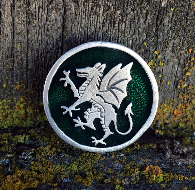 Handcrafted Jewelry by Treasure Cast Pewter Rampant Dragon Pewter Pin Brooch Medieval Jewelry Heraldic Jewelry